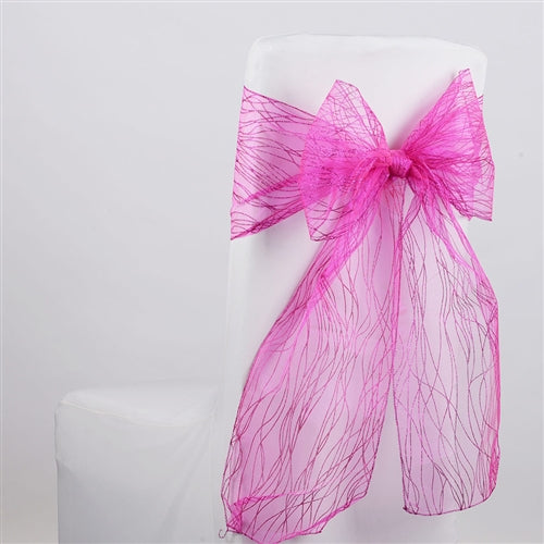 FUCHSIA Glitter ORGANZA Chair Sash 10 Pieces