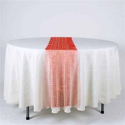 RED with GOLD Metallic ORGANZA Table Runner - XB34212