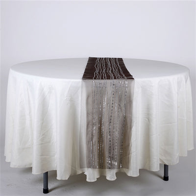 BLACK with SILVER Metallic ORGANZA Table Runner - XB34221