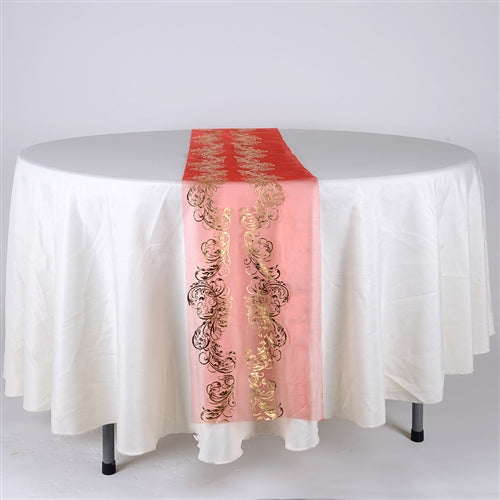 RED with GOLD Metallic ORGANZA Table Runner