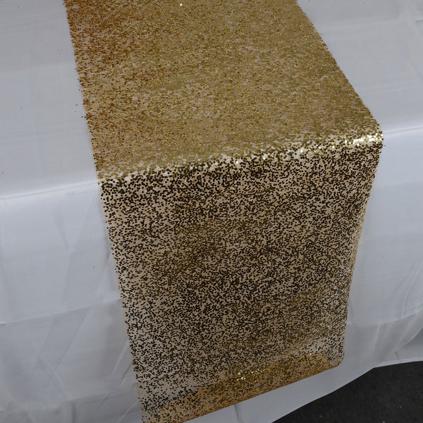 Gold Sequin Like Glitter Net Table Runner