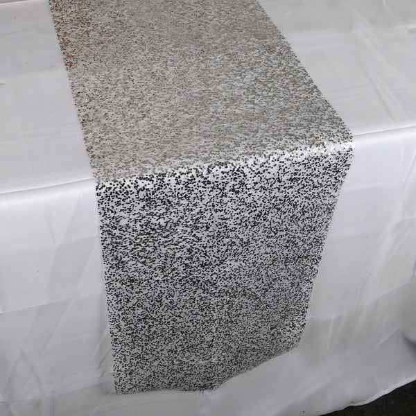 Silver Sequin Like Glitter Net Table Runner