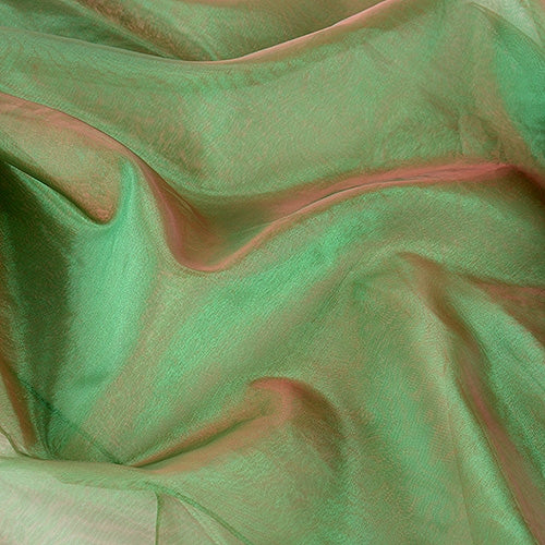 RED Green Two Tone ORGANZA Fabrics 28x3 Yards