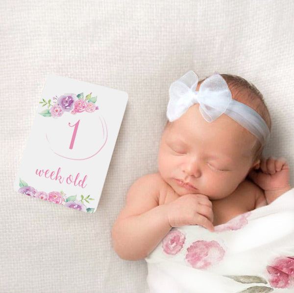 Baby - Watercolour Floral Milestone Cards