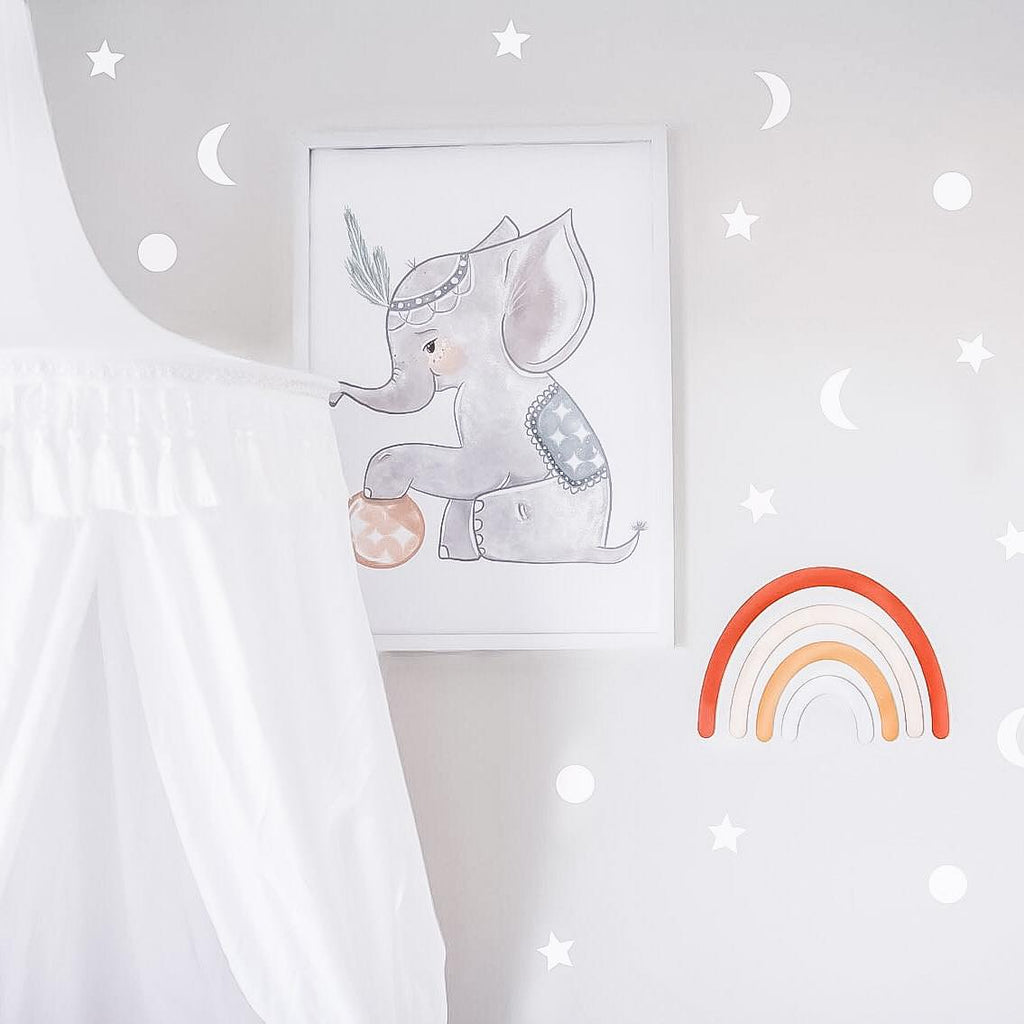 Stars and Moon Wall Decal - White