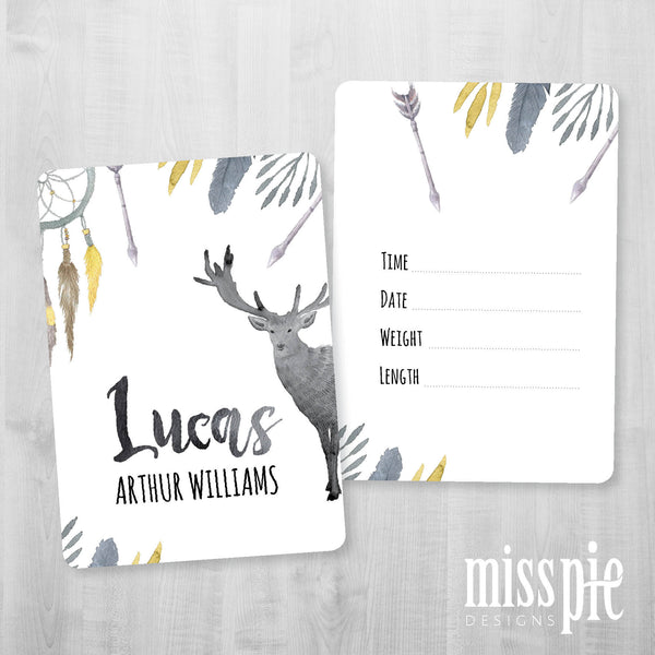 Mustard Boho Name Announcement Card