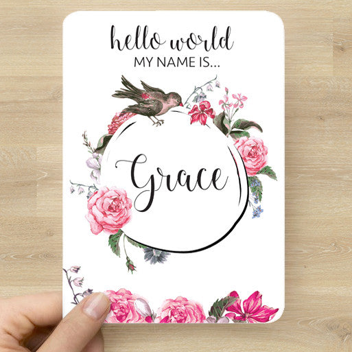 Floral Name Announcement Card