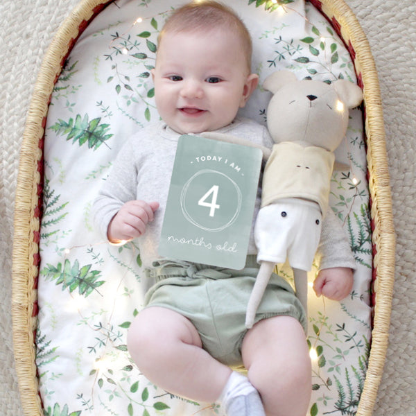 Baby - Mint and Wood gender neutral Milestone Cards