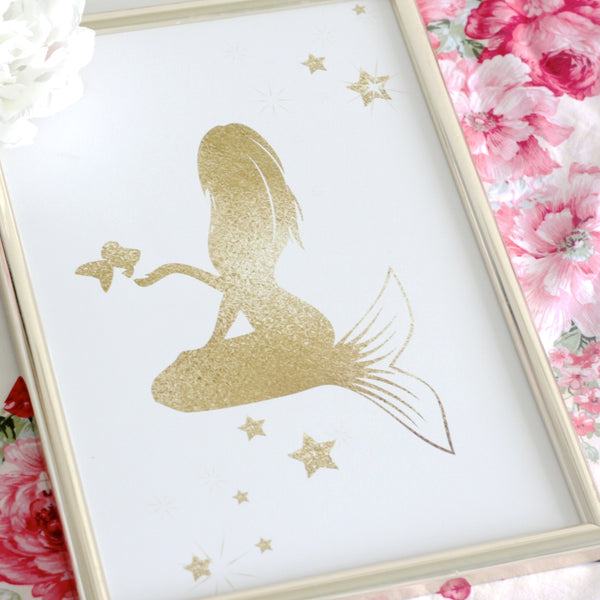 Gold mermaid Print