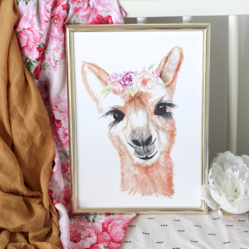 Lady Llama Watercolour Print - Purples and Pinks