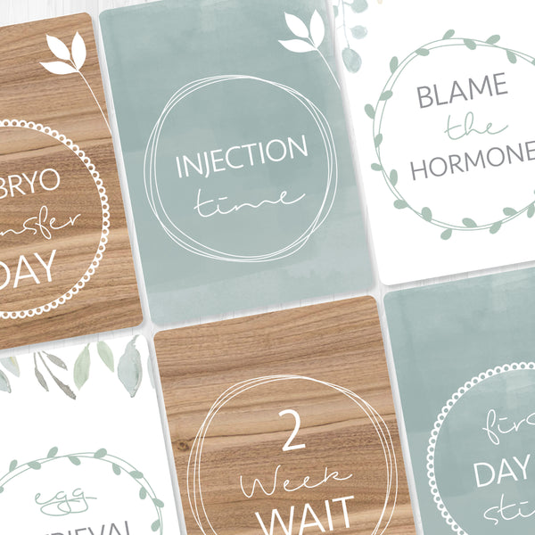 IVF Milestone Cards - mint and wood