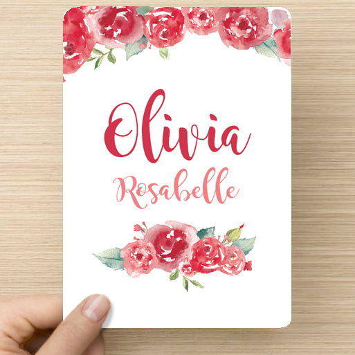 Roses Name Announcement Card