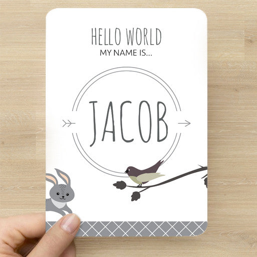 Woodland Name Announcement Card
