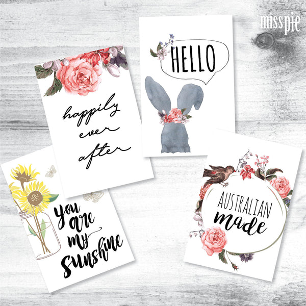 Flat lay packs tagged girly flay lay cards miss pie designs floral mini print pack pack 5 m4hsunfo