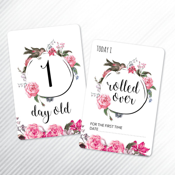 Baby - Floral Milestone Cards