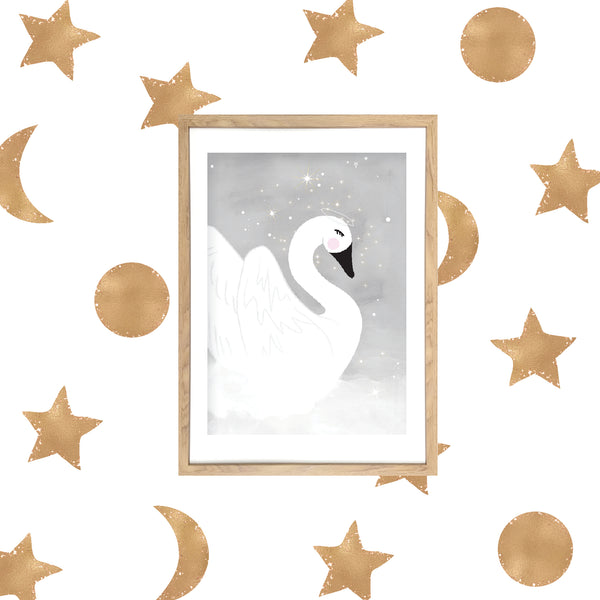 Gold Stars and Moon Wall Decals