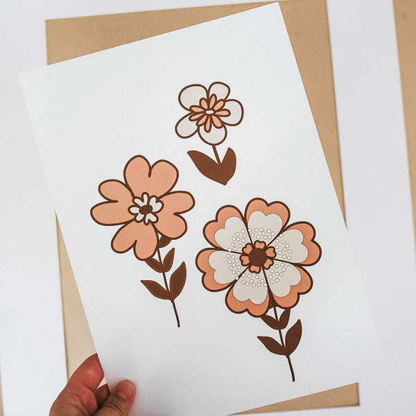 Retro flowers Print - Pink/brown