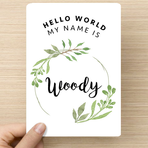 Green Leaves Name Announcement Card