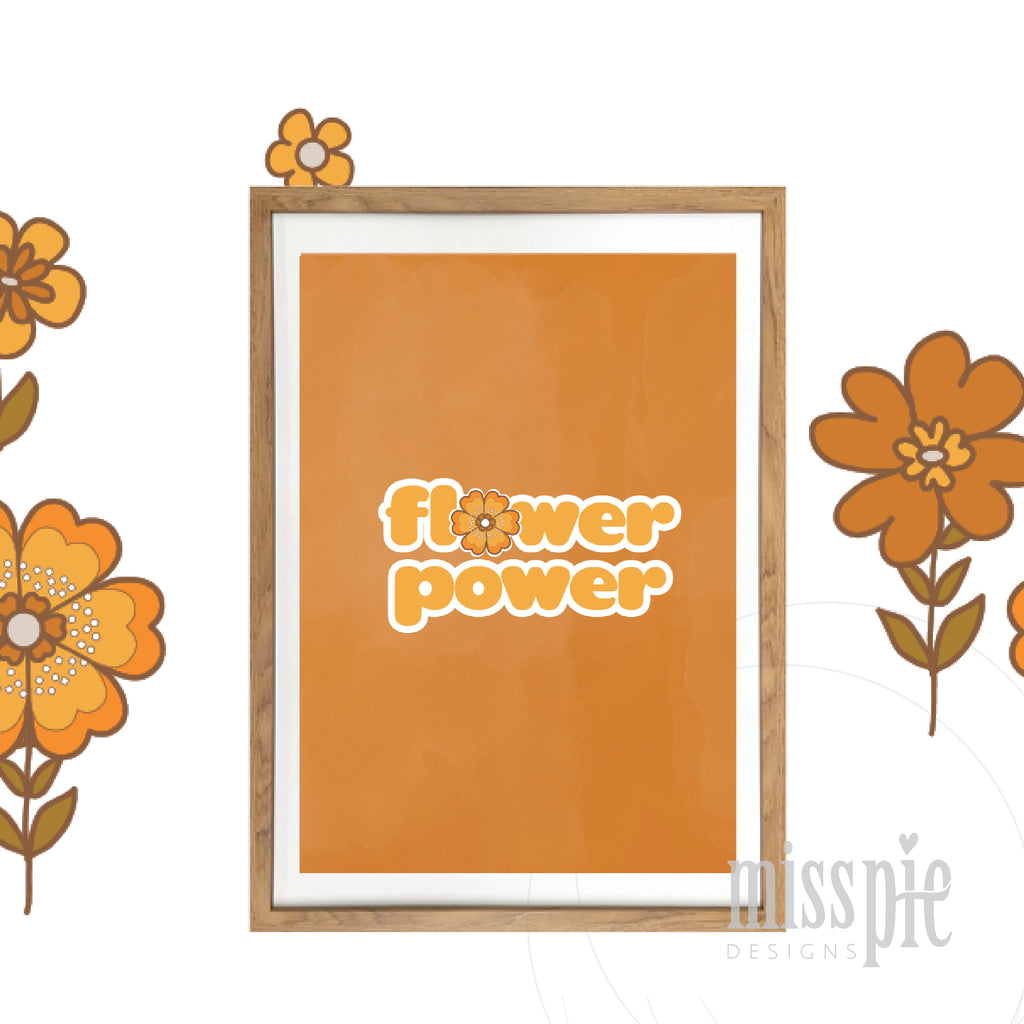 Retro flower Power Orange
