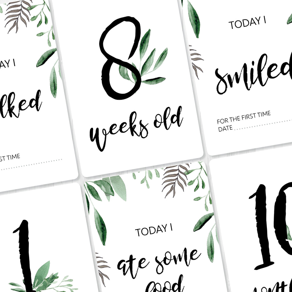 Baby -  Green Leaves Milestone Cards