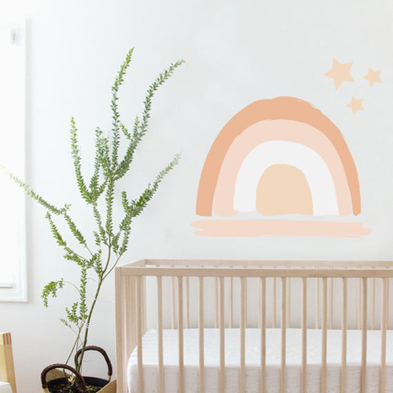 Peachy Boho Rainbow Wall Decal