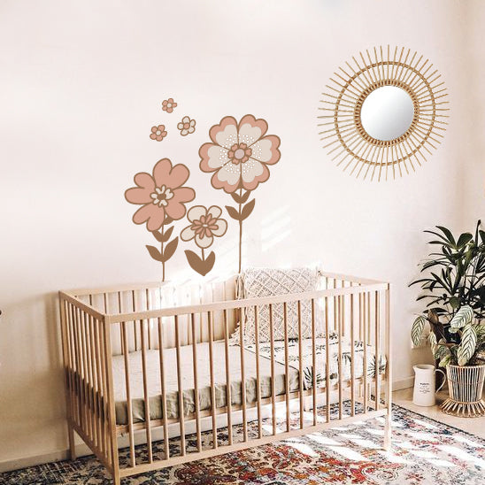 Retro Flowers Decal - Dusty Pink