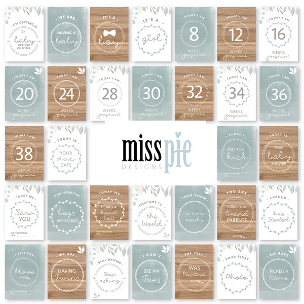 Pregnancy and IVF Milestone Cards - mint and wood