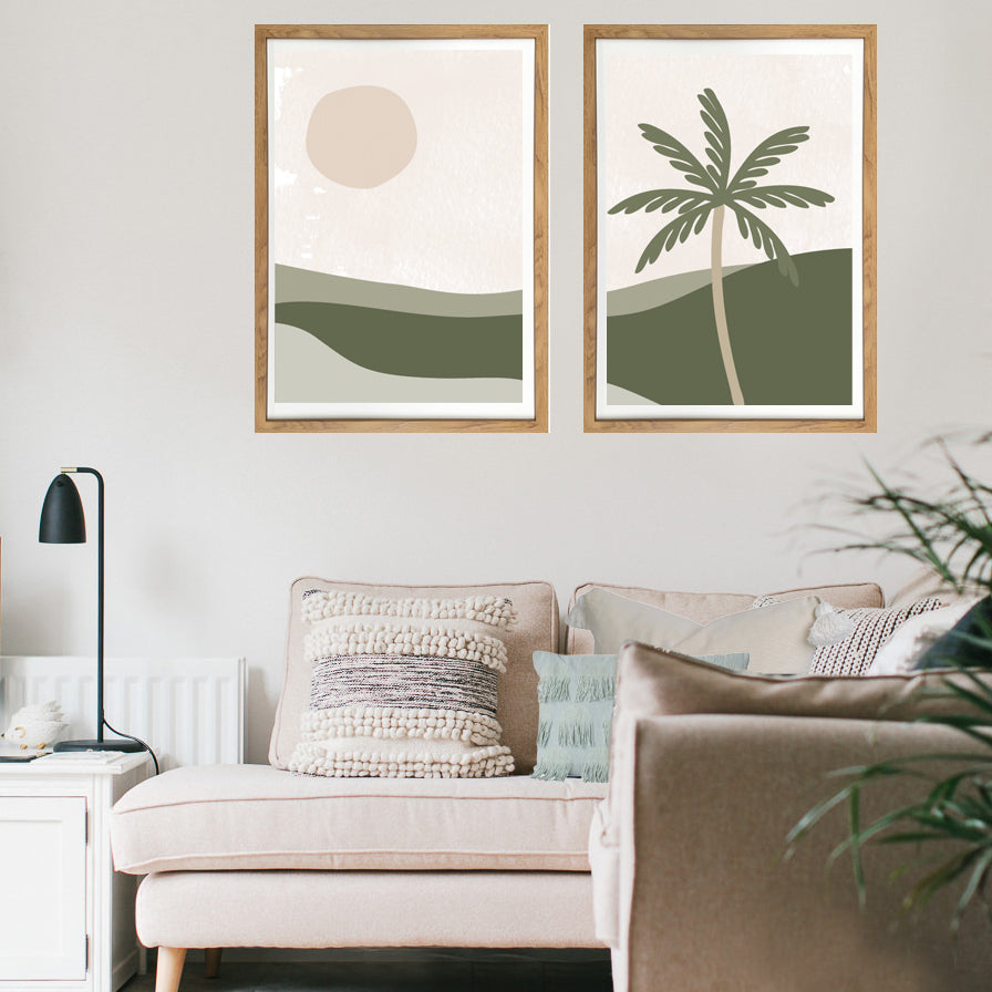 Green Palm Landscape - Print pair
