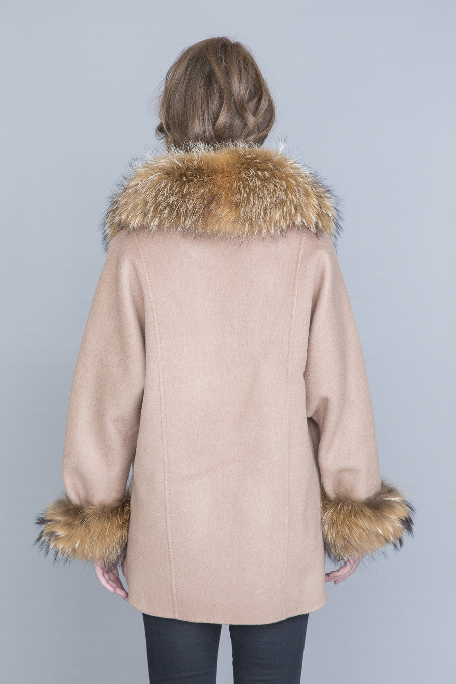 Beverly Wool & Cashmere Cape with Fur Trim