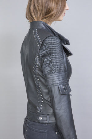 Esme Leather jacket with detachable hoodie