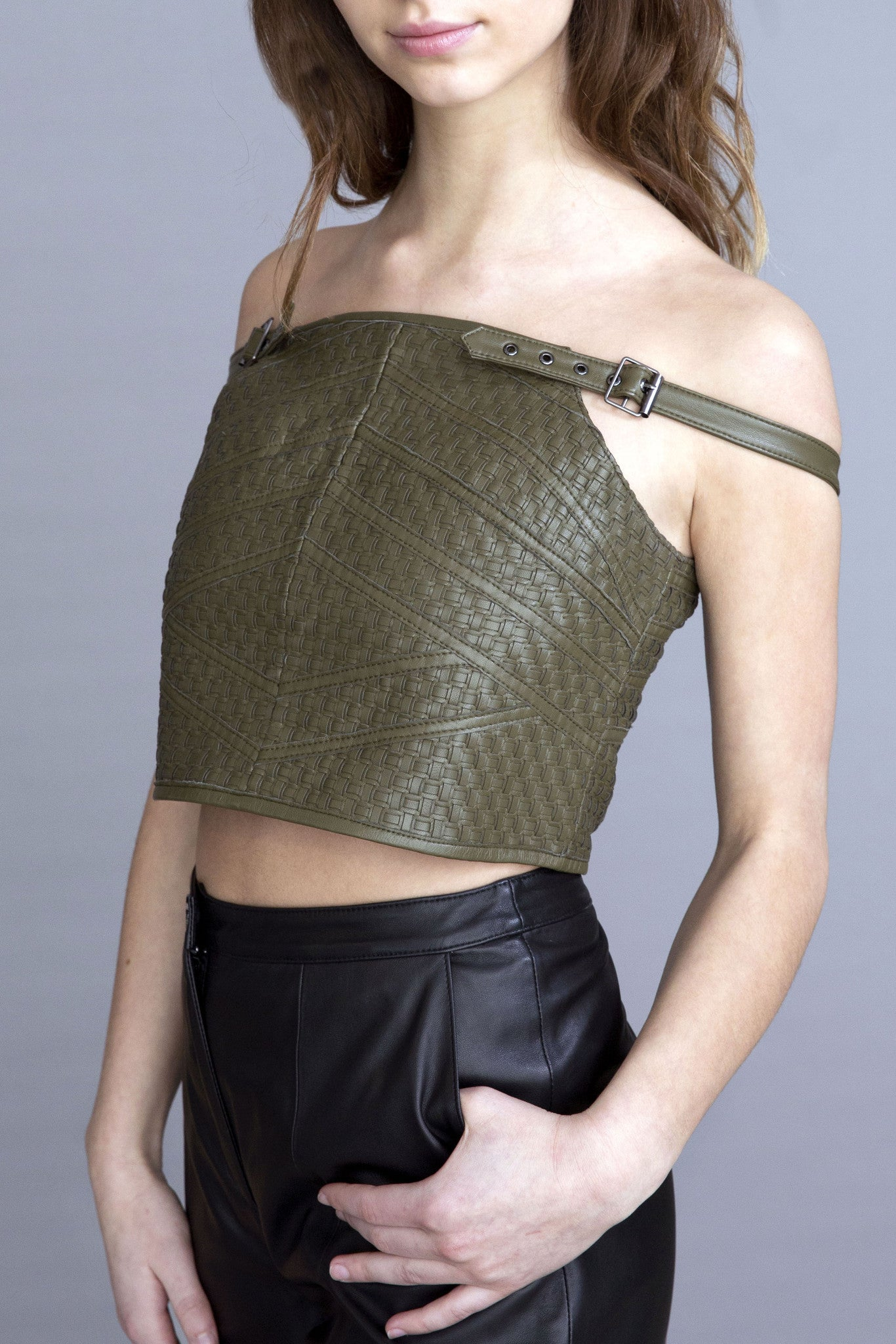Reese Basket weave Leather Top