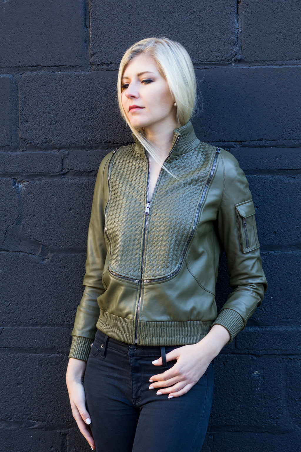 Piper leather bomber Jacket