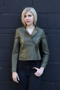 Rayna Basket Weave Leather Jacket