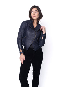 Zoe Hand Woven Leather Jacket-Navy