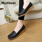 Leather Wedges Mother Moccasins