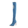 Women Hole Denim High Heels Over The Knee Boots