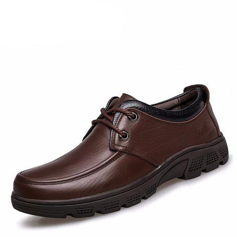 Genuine Leather Men's Casual Shoes Lace Up Male Flats