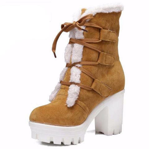 Faux Fur Platform High Heels  Boots