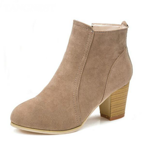 Women Thick Heel Pointed Toe Casual Ankle Boots