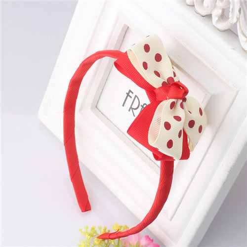 Bow Hair Band Girls Headband Sweet Pattern Polka Dots (Red Offwhite) | meemu.com | Kids fashion, accessories