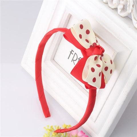 Bow Hair Band Girls Headband Sweet Pattern Polka Dots (Red Offwhite)