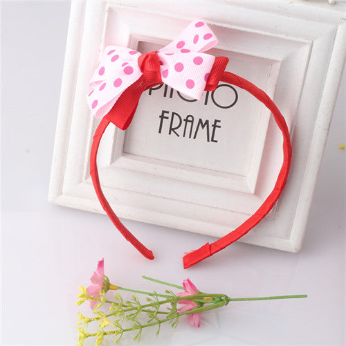 Bow Hair Band Girls Headband Sweet Pattern Polka Dots (Red Pink) | meemu.com | Kids fashion, accessories
