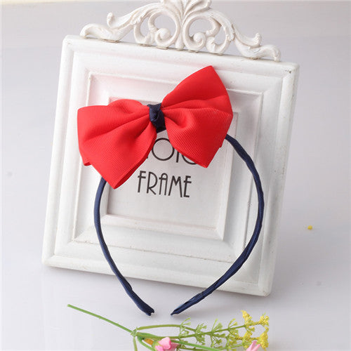 Bow Hair Band Girls Headband Sweet Pattern Solid-Knot (Navy Red) | meemu.com | Kids fashion, accessories