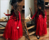 Full Sleeves Party Dress Lacey Skirt RED | meemu.com | Kids fashion, accessories