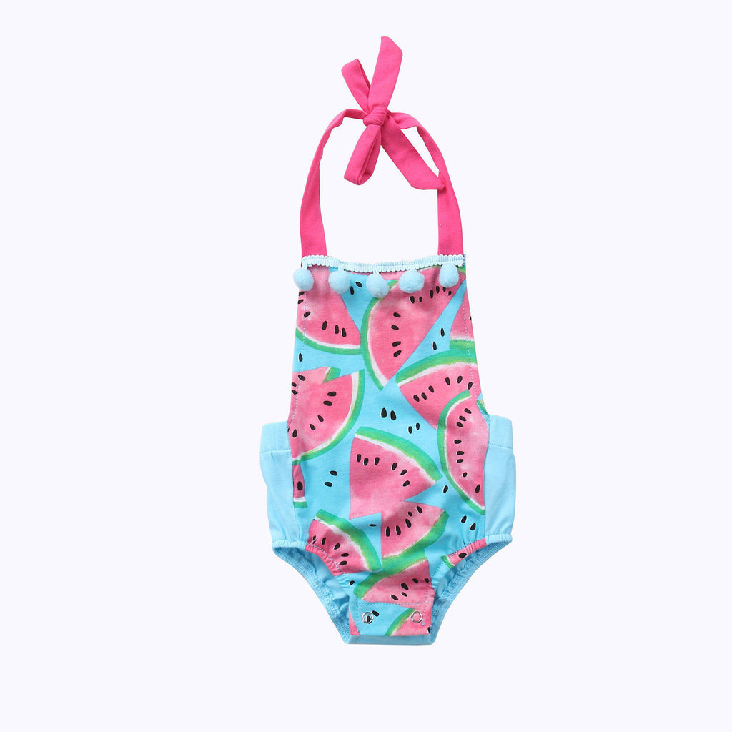 Watermelon Sunsuit Halterneck Romper | meemu.com | Kids fashion, accessories