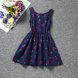 Cherry Print Blue Dress