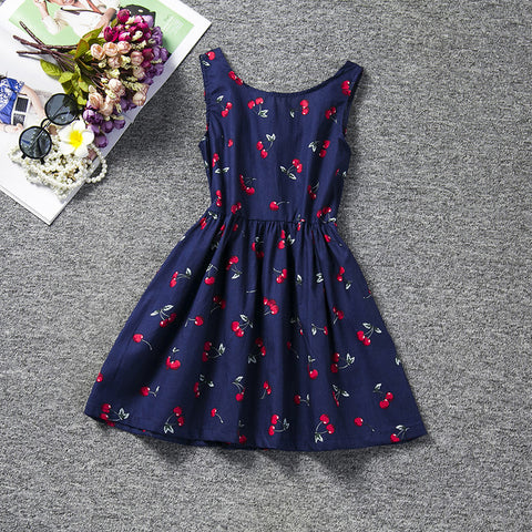 Cherry Print Blue Dress | meemu.com | Kids fashion, accessories