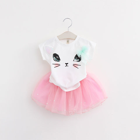 Cartoon Kitten Net Veil Dress