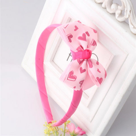 Bow Hair Band Girls Headband Sweet Pattern Heart Bow-Knot (Dark Pink Heart) | meemu.com | Kids fashion, accessories
