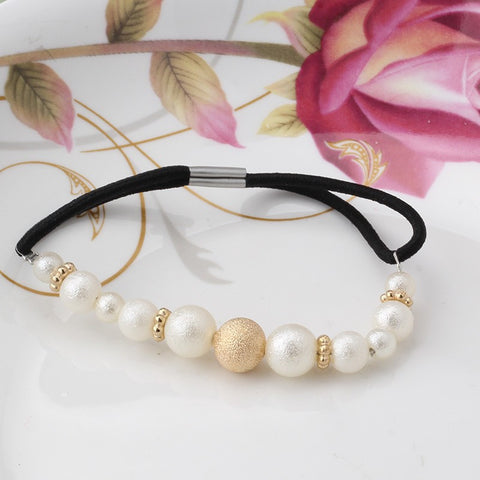 Pearls Elastic Hair Band (Gold White) | meemu.com | Kids fashion, accessories
